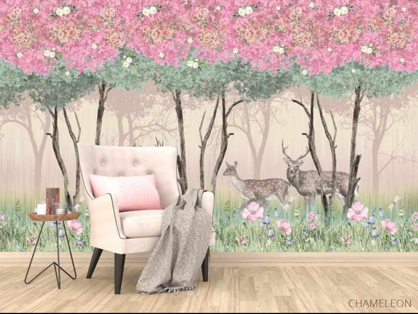 Фотообои Олени в розовом лесу - 4