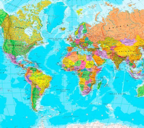 Фотообои Карта мира на английском 20060