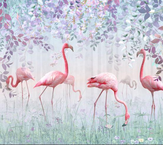 Фотообои Фламинго и зелень 23804
