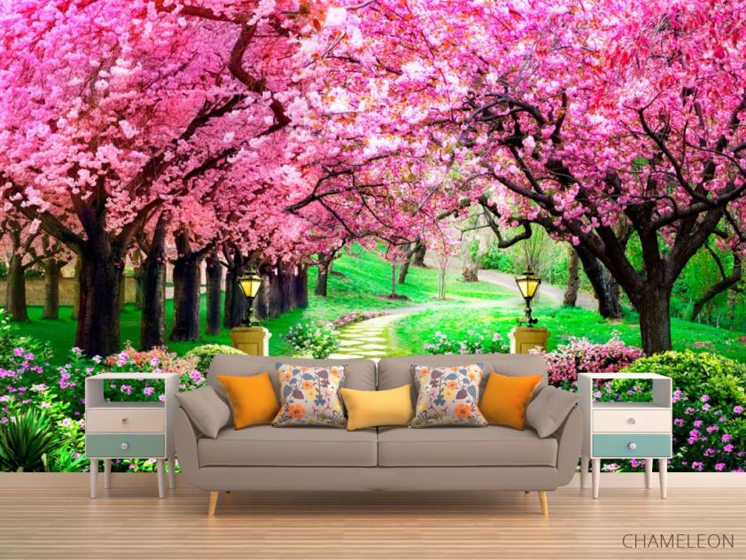 Фотообои Тоннель из розовых деревьев - 1