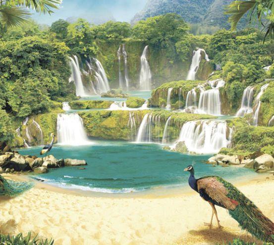 Фотообои Водопад с павлинами 22494