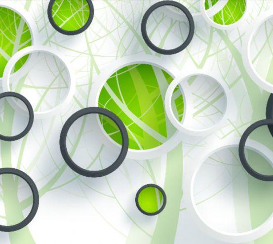 Фотообои Зеленые круги и дерево 19946