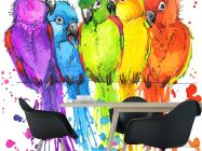 Фотообои пять разноцветных попугаев рисунок - 1