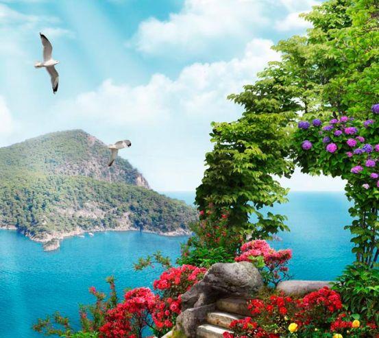 Фотообои Ступеньки, цветы, остров 13609