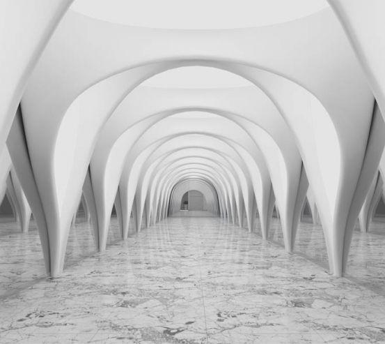 Фотообои 3д тоннель серый 29288