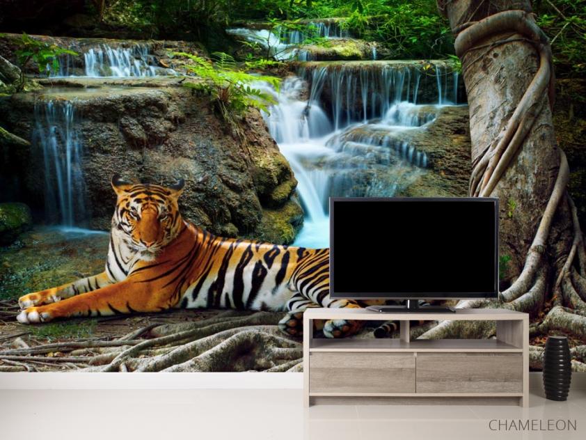 Фотообои тигр у водопада - 2
