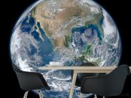 Фотообои планета Земля на черном фоне - 1