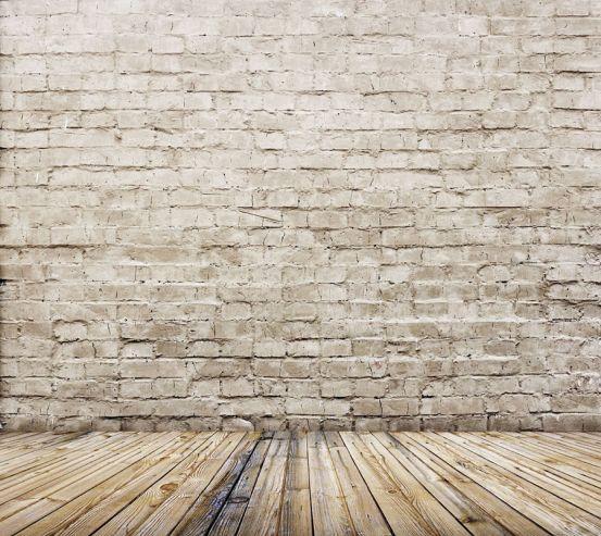 Фотошпалери Бежеві цеглини з підлогою 20215