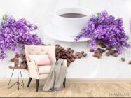Фотообои в кухню Кофе, цветы - 4