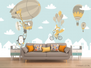 Фотообои Зверюшки на воздушных шарах - 1