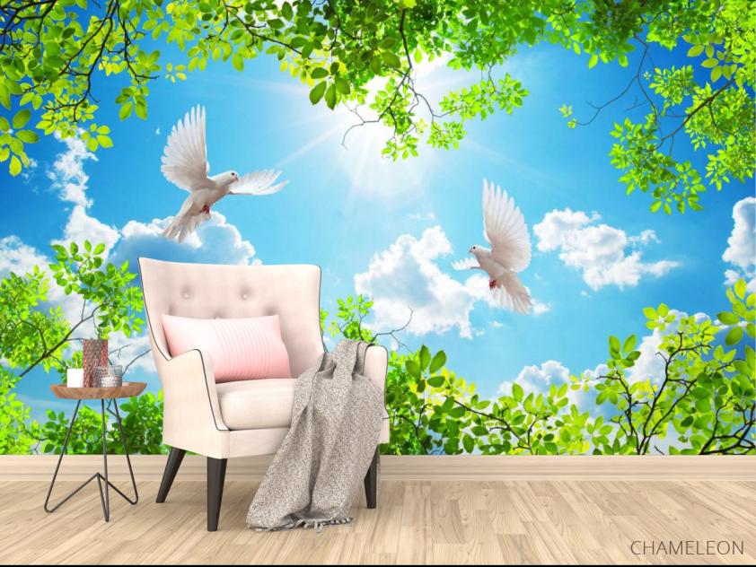 Фотообои Ветки и голуби для потолка - 4