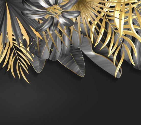 Фотообои Золотые листья на черном 25446