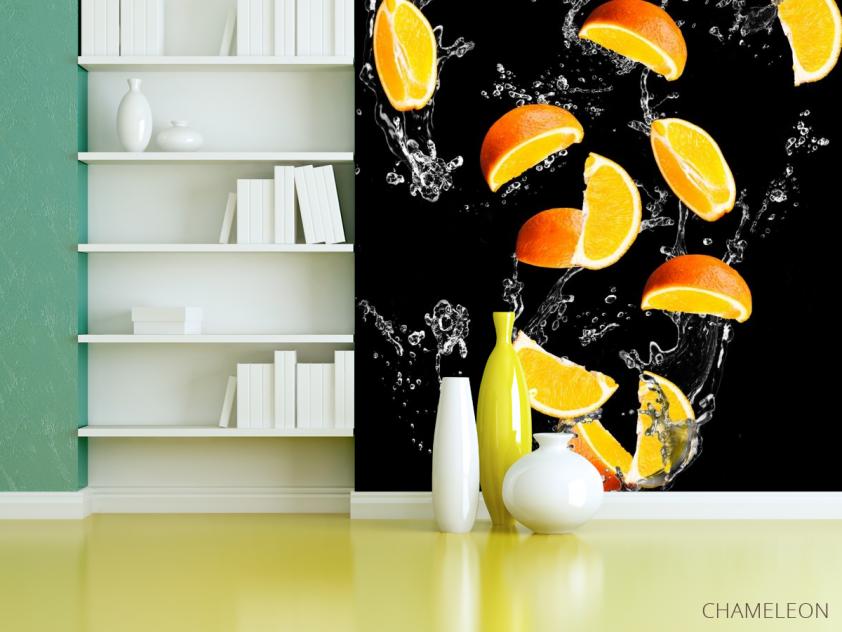 Фотообои апельсинкаи на чёрном фоне - 3