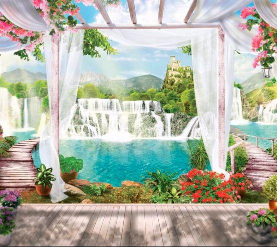 Фотообои Водопад, замок, цветы 15165