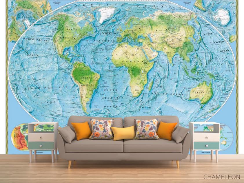Фотообои Физическая карта мира - 1