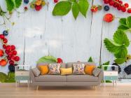 Фотообои ягоды на деревянном фоне - 1