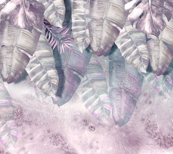 Фотошпалери дизайнерські рожеві листя 23913
