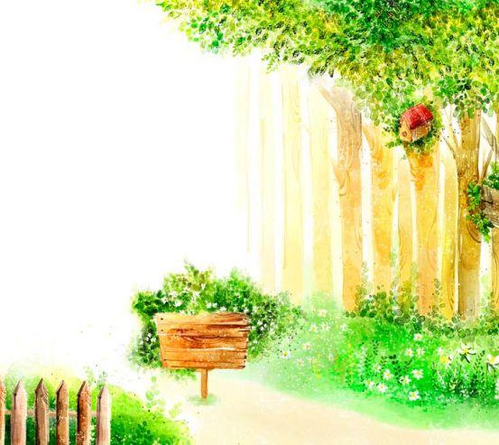 Фотообои Деревья и забор 7348
