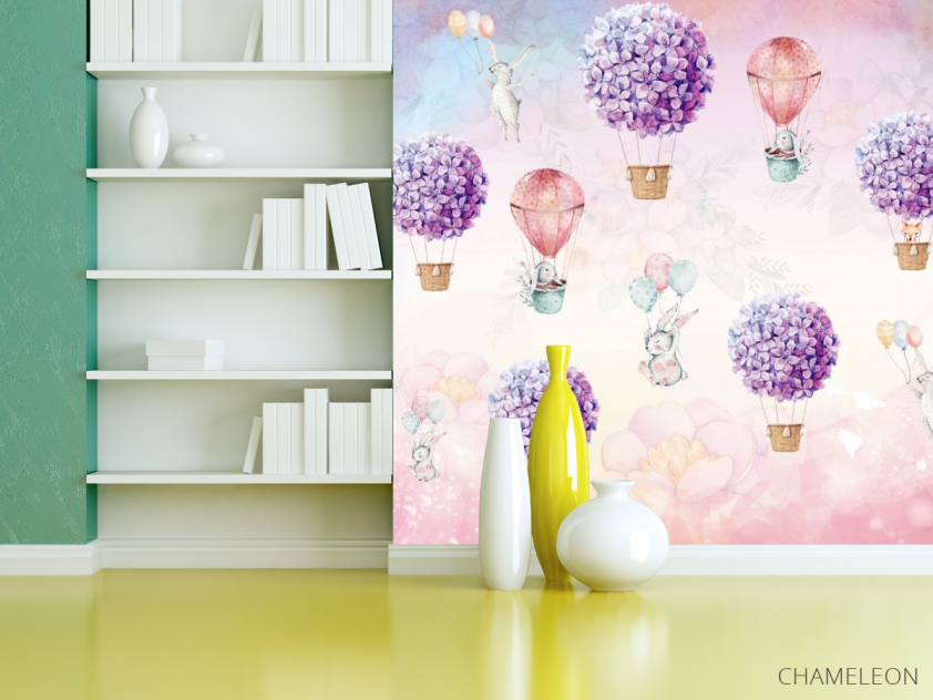Фотообои Воздушные шары с кроликами - 3