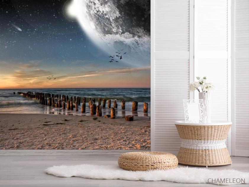 Фотообои луна над морем - 2