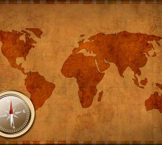Фотообои Компас и карта мира 0299