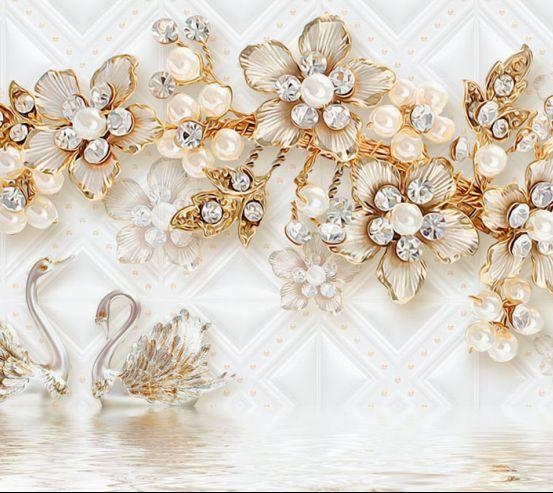 Фотообои Золотые брошки и лебеди 20050