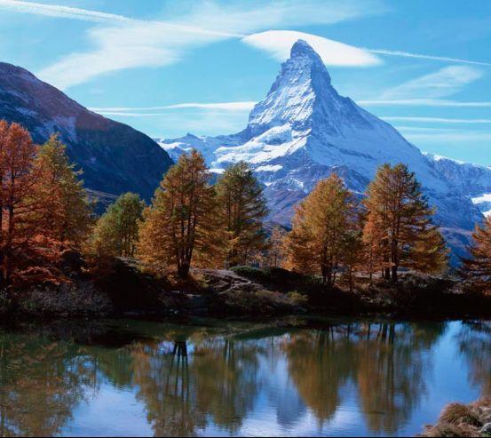 Фотообои Осень, горы, вода 0367