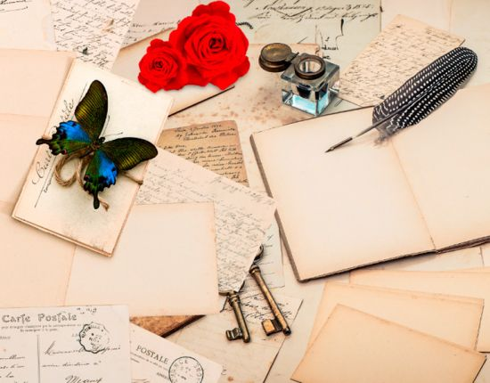 Фотообои в кухню Письмо, цветы
