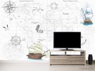 Фотообои Детская карта с кораблями - 2