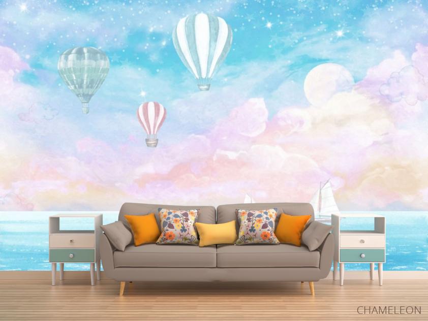 Фотообои Воздушные шары на голубом фоне - 1