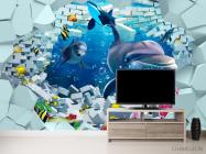 Фотообои 3д дельфины - 2