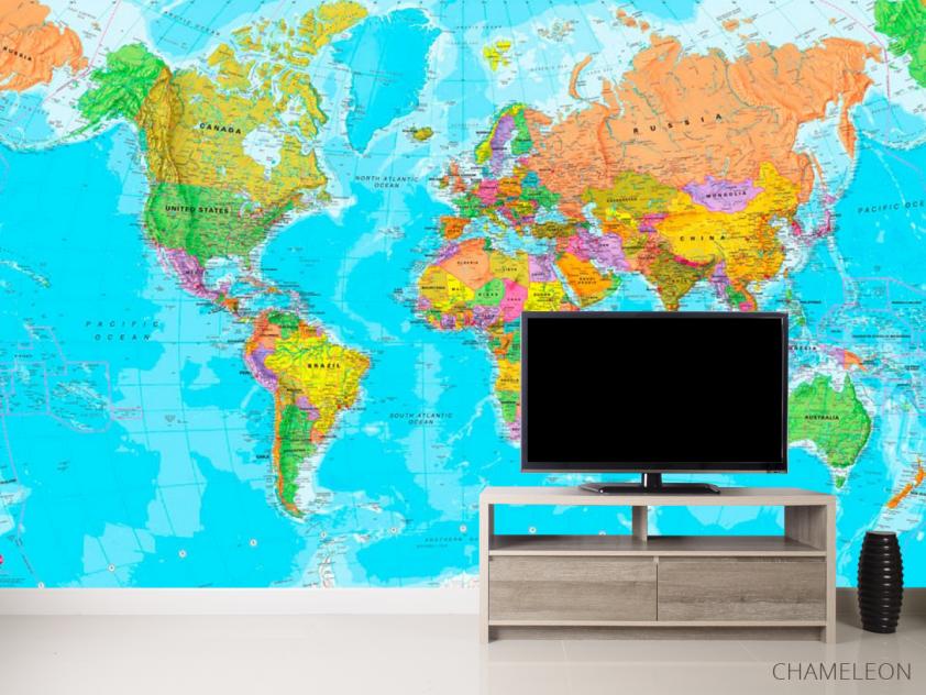 Фотообои Карта мира на английском - 2
