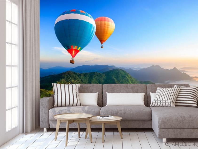 Фотообои воздушные шары над горами - 3