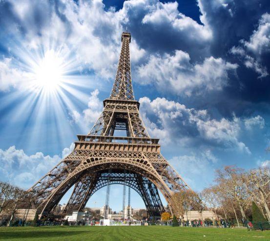 Фотообои солнце над Эйфелевой башней 20622