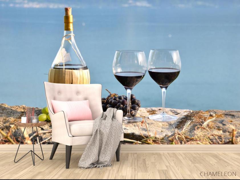 Фотообои красное вино на берегу - 4