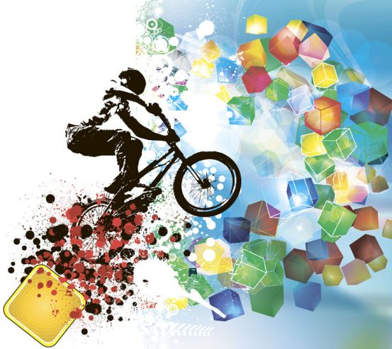 Фотообои Велосипедист и геометрия 11155