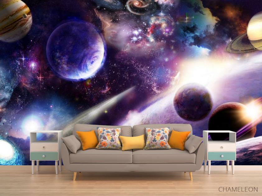 Фотообои яркий космос с планетами - 1