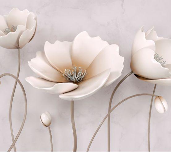 Фотошпалери Стереоскопічні бежеві квіти  20035
