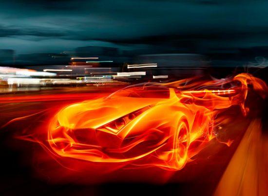 Фотообои Огненный автомобиль