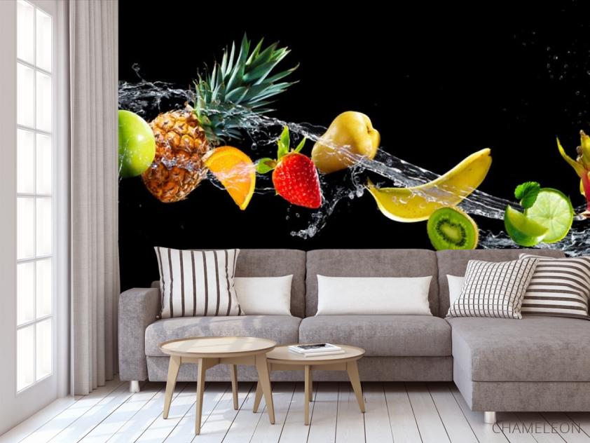 Фотообои фрукты и вода на черном фоне - 3