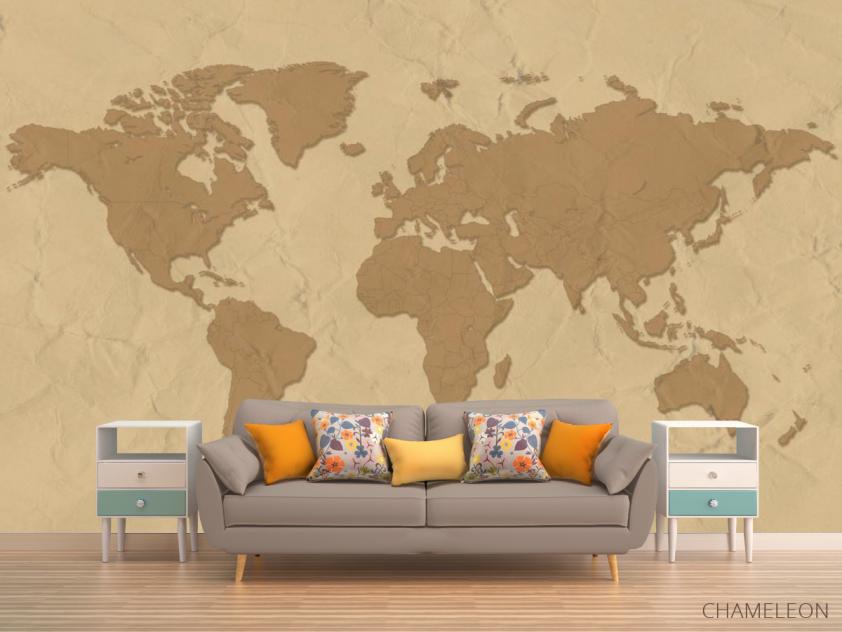 Фотообои Стилизация континентальной карты - 1
