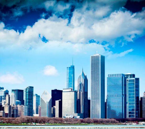 Фотообои Тучи, высотки Чикаго 2008
