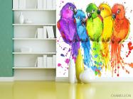 Фотообои пять разноцветных попугаев рисунок - 3
