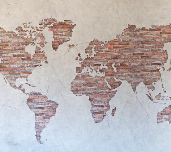 Фотошпалери Карта на стіні з цегли 21582