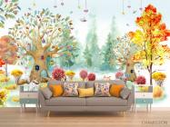 Фотообои Акварельный лес для детской - 1
