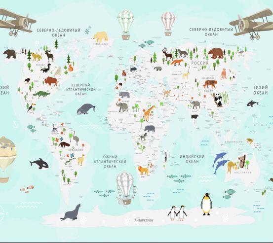 Фотообои Карта в детскую  24123