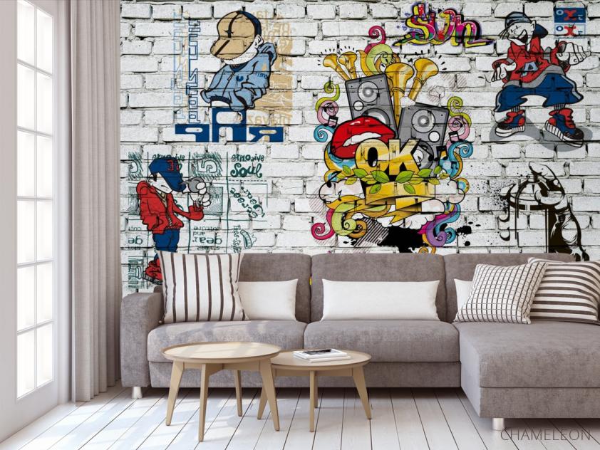 Фотообои 3д стена с граффити - 3