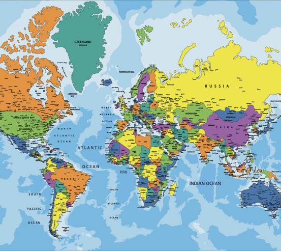 Фотошпалери Карта світу англійською 23088