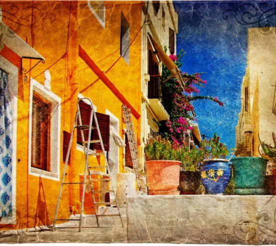 Фотообои Цветы в горшках на фоне дома 0313