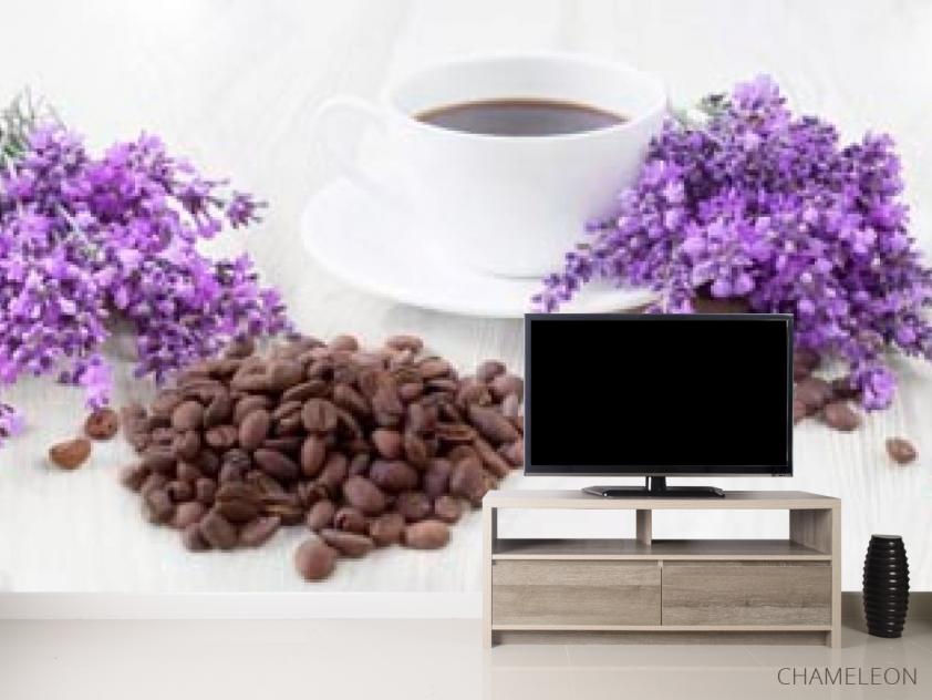 Фотообои в кухню Кофе, цветы - 2